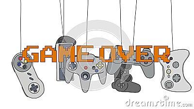 Cartoon Joysticks of a Image Game Consoles Swinging Stock Photo
