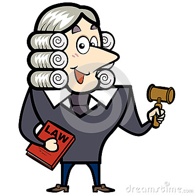 Cartoon Judge With A Gavel And Law Book Stock Photos - Image: 29783183