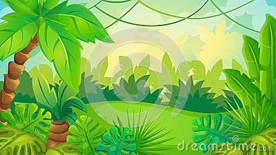 Cartoon Jungle Game Background Vector Illustration