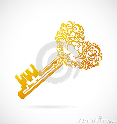 Cartoon key with heart