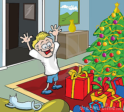 Cartoon kid on Christmas morning opening gifts