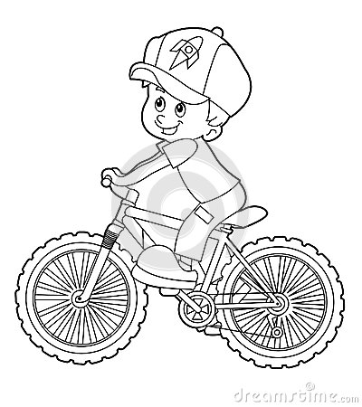 Cartoon Kid Riding Bicycle Coloring Page Stock