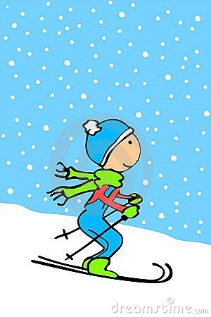 Cartoon kid skiing