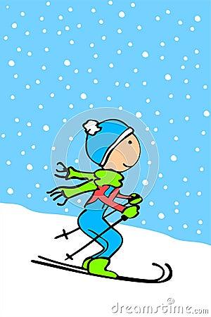 Cartoon Kid Skiing Stock Image Image 12951811