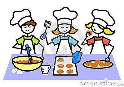 Cartoon Kids Baking Cookies/eps