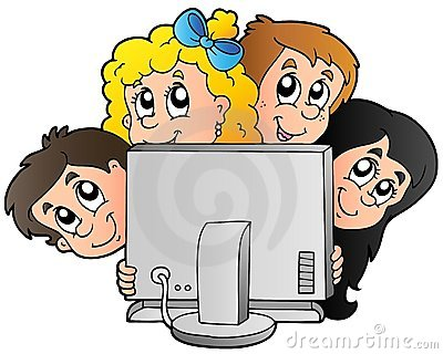 Cartoon kids with computer