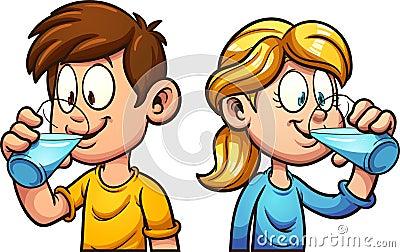 Cartoon kids drinking water Vector Illustration