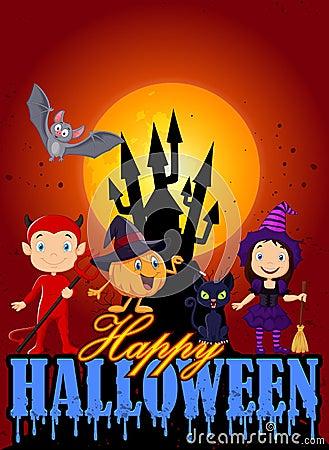 Cartoon kids with Halloween costume and pumpkin wizard Vector Illustration