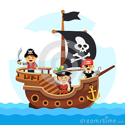 Free Cartoon Kids Pirate Ship Sailing Sea Stock Photo - 59145700