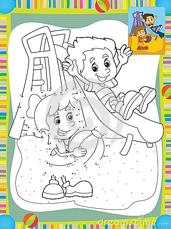 Cartoon kids playing on the slide - illustration for the children