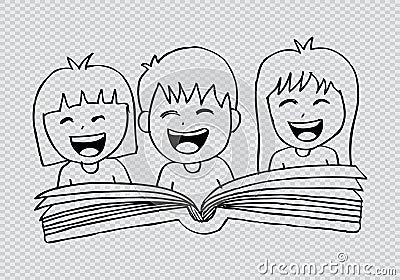 Cartoon kids reading book Cartoon Illustration