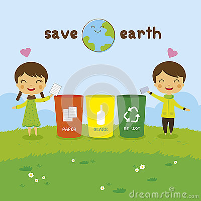 The Earth Recycling Boy And Girl Ecology Concept Save World