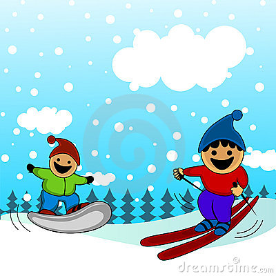 Cartoon kids skiing