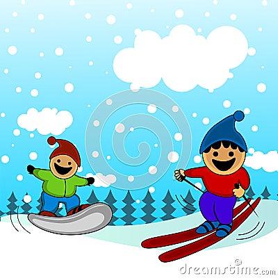 Cartoon kids skiing