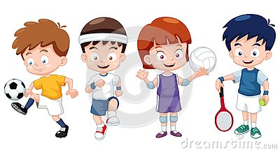 Cartoon Kids Sports Characters Stock Image - Image: 27898901