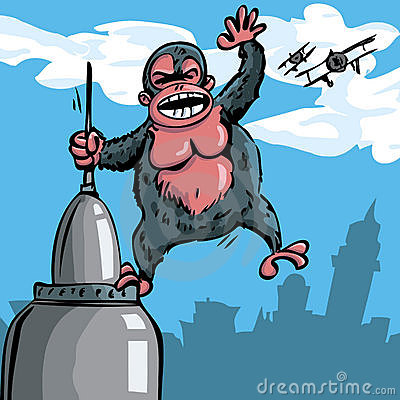 Cartoon King Kong hanging on a skyscraper