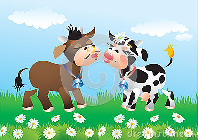 Cartoon kissing cows in love