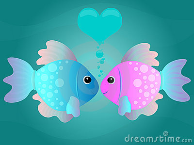 Cartoon Kissing Fish