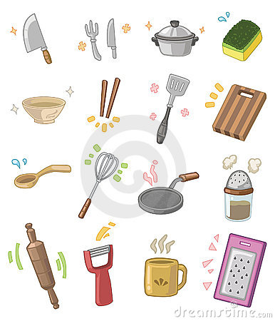 Free Cartoon Kitchen Utensils Stock Image - 17635581