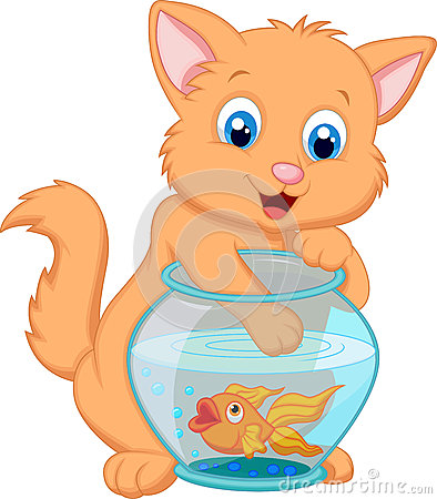 Free Cartoon Kitten Fishing For Gold Fish In An Aquarium Bowl Stock Images - 34606014