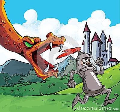 cartoon of a knight running from a fierce dragon stock