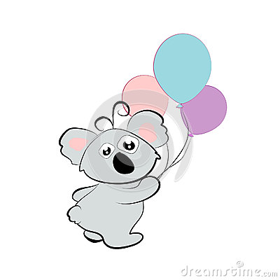 Cartoon koala with balloons