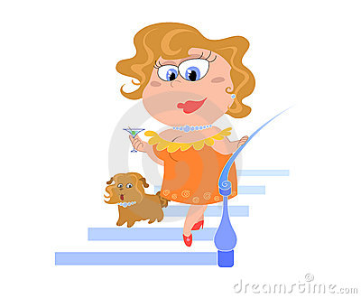 Cartoon lady with dog