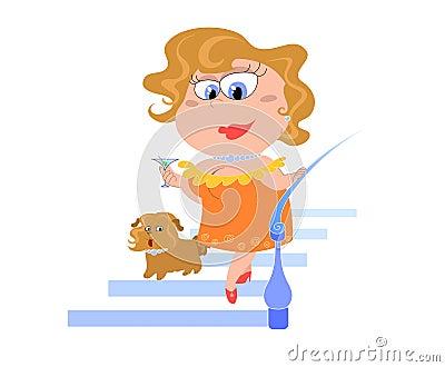 Cartoon lady with dog