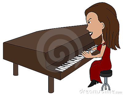 Cartoon lady pianist
