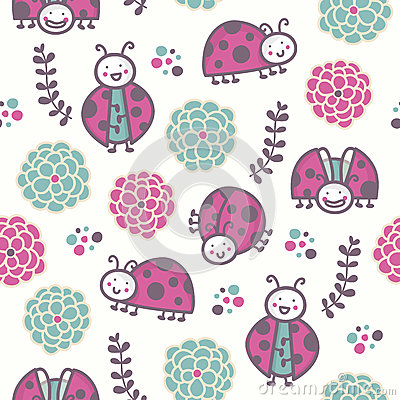 Cartoon ladybirds, vector seamless pattern