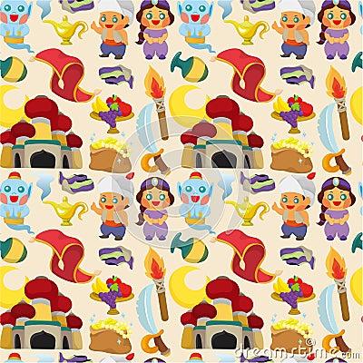 Cartoon Lamp of Aladdin seamless pattern
