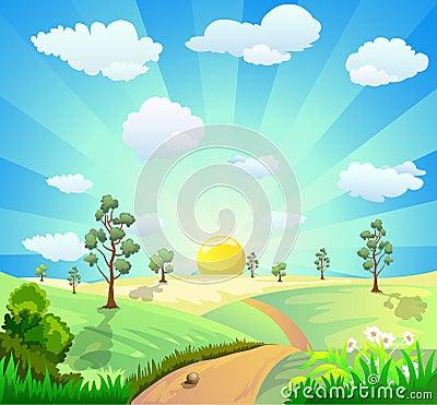 Free Cartoon Landscape Background Royalty Free Stock Image - 25040156