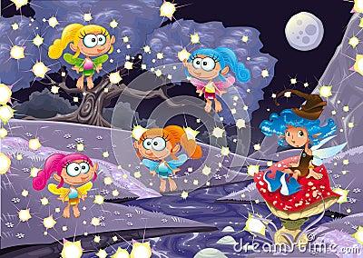 Cartoon landscape with fairies.