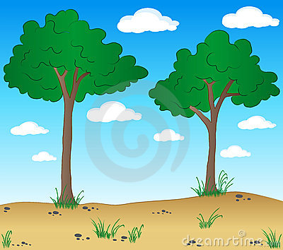 Cartoon landscape with trees