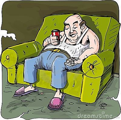 Cartoon of lazy drinking man