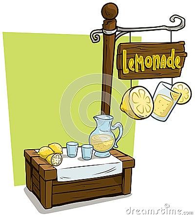 Free Cartoon Lemonade Vendor Booth Market Wooden Stand Royalty Free Stock Image - 122378796