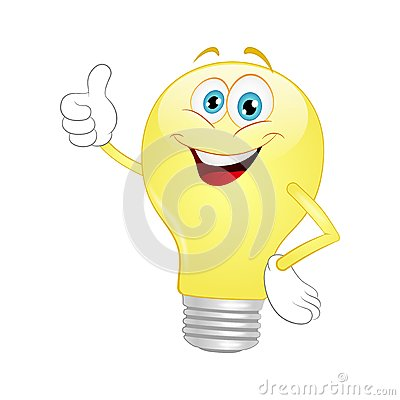 Free Cartoon Light Bulb Royalty Free Stock Photo - 48227015