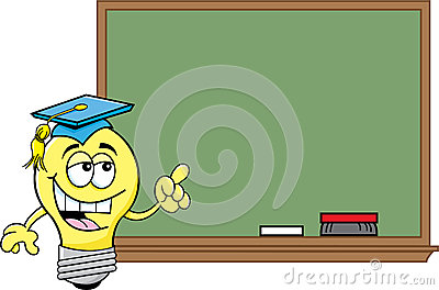 Cartoon light bulb at a blackboard