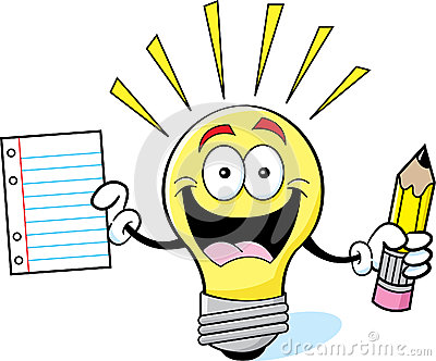 Cartoon light bulb holding a paper and pencil