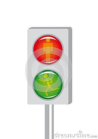 Cartoon light signal for pedestrian crossing