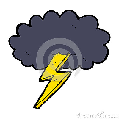 Cartoon Lightning Bolt And Cloud Royalty Free Stock Images