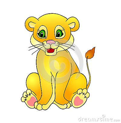 Animated Baby Cougar Cartoon lion,with isolation on