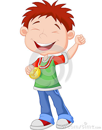 Cartoon Little boy celebrates his golden medal