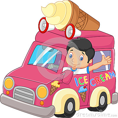 Free Cartoon Little Boy Driving Car And Waving Stock Images - 55839094