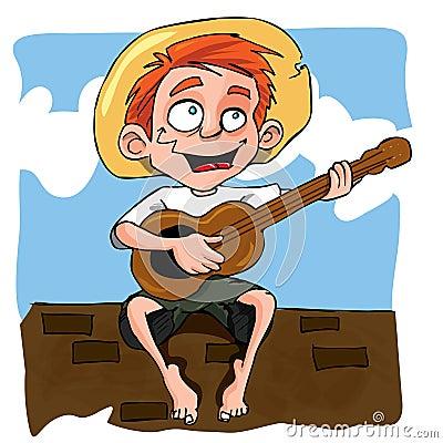 Cartoon of little boy playing guitar
