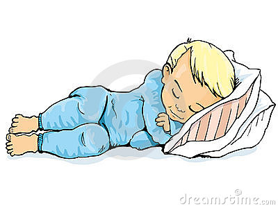 Cartoon of little boy sleeping on a pillow