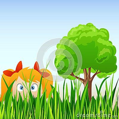 Cartoon Little Girl Hide In Grass Royalty Free Stock