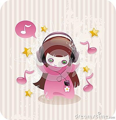 Cartoon little girl listening to music