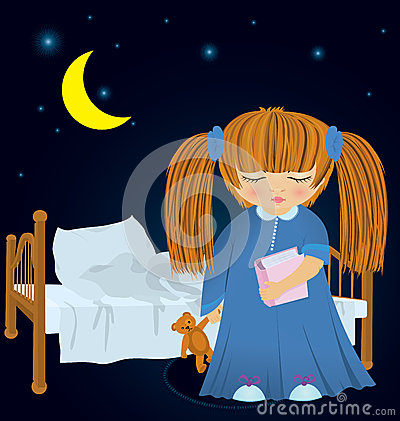 Cartoon little girl near bed vector