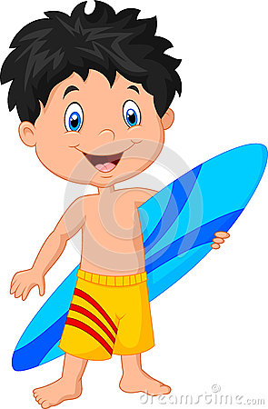 Cartoon Little Kid Holding Surfboard Stock Vector Image